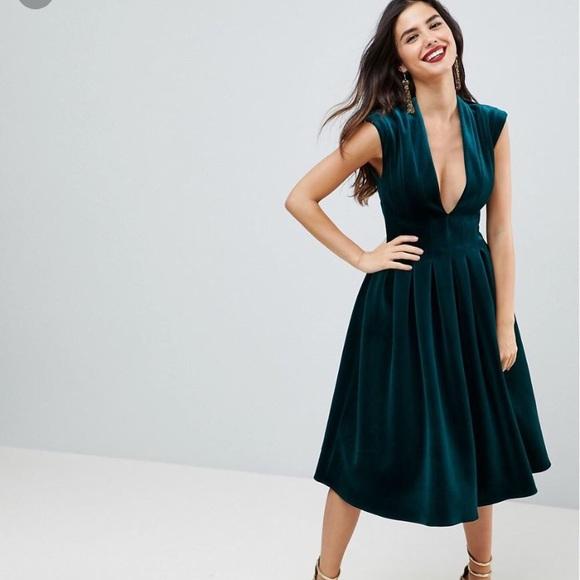 ASOS bonded velvet deep plunge midi dress in green 4c9d9434c